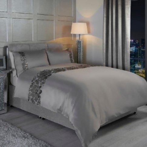 Carmela Sequin Duvet Cover and Pillowcase Set - Grey...