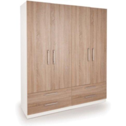 Ashburton Four Door Four Drawer Wardrobe - White / Oak