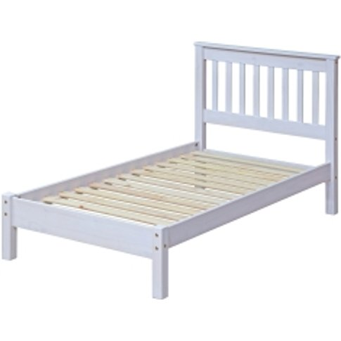 Corona Low End Single Bed Frame - White Washed Wax
