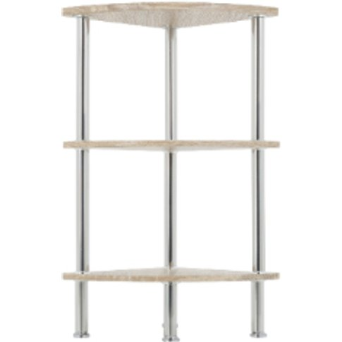 Three Tier Washed Oak Corner Shelving Unit