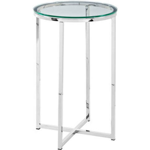 Rosa Round Side Table - Glass & Chrome