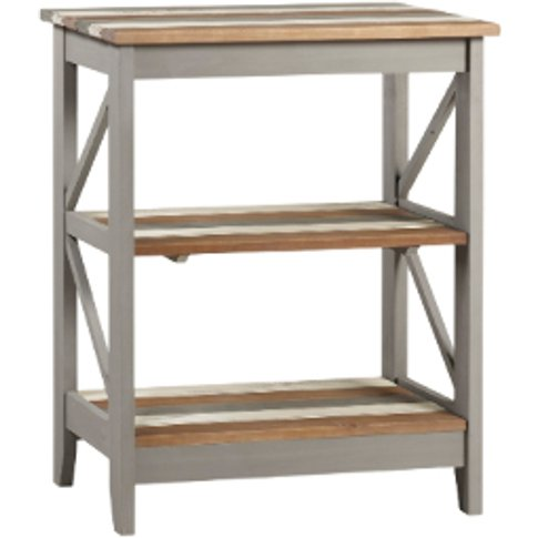 Corona Three Tier Wide Grey Shelving Unit - Vintage