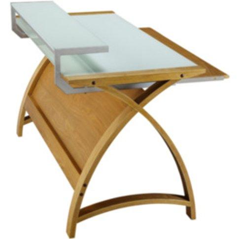 Curve Workstation Desk  - Oak / 90cm