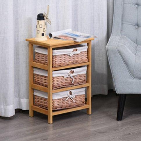 Wicker 5 Drawers Units Wooden Storage Cabinet Basket...