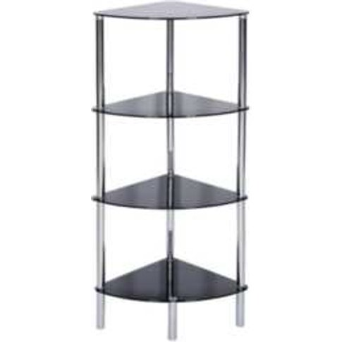 Sierra 4 Tier Corner Shelving Unit - Black