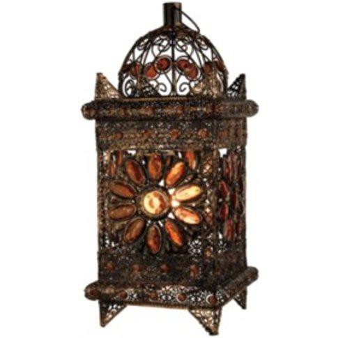 Moroccan Lantern Style Table Lamp  - Bronze