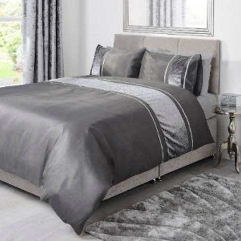 Lurex Stripe Charcoal Duvet Cover and Pillowcase Set...