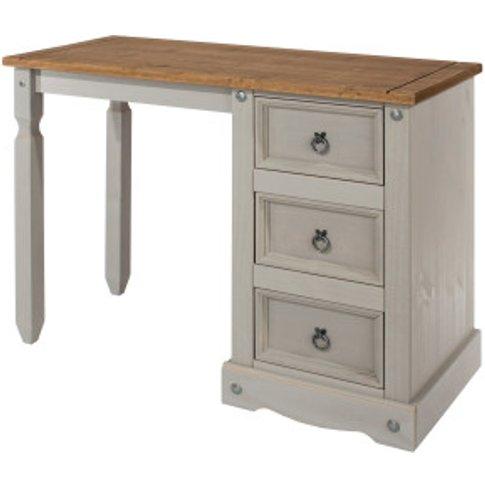 Corona Grey Washed Single Pedestal Dressing Table - Grey Wash