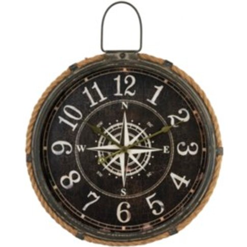 Nautical Compass Wall Clock - Brown