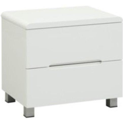 Blanco Two Drawer Bedside Cabinet - White
