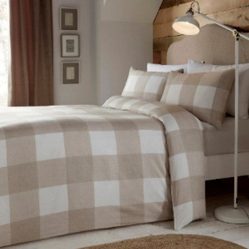 Newquay Duvet Cover And Pillowcase Set - Natural / King
