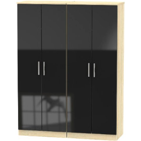 Carlton Four Door Wardrobe - Black
