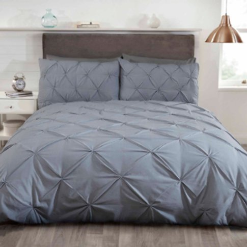 Balmoral Smock Duvet Cover And Pllowcase Set - Silve...