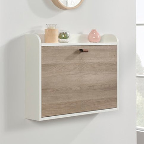 Teknik Avon Leather Handled Wall Desk - Sky Oak/White