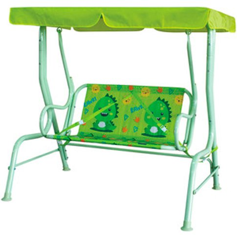 Kids Two Seater Hammock With Canopy - Dino Green