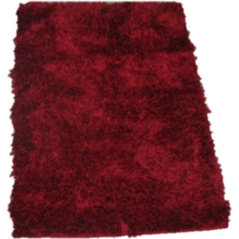 Soft Silky Mix Rug - Red / 120cm