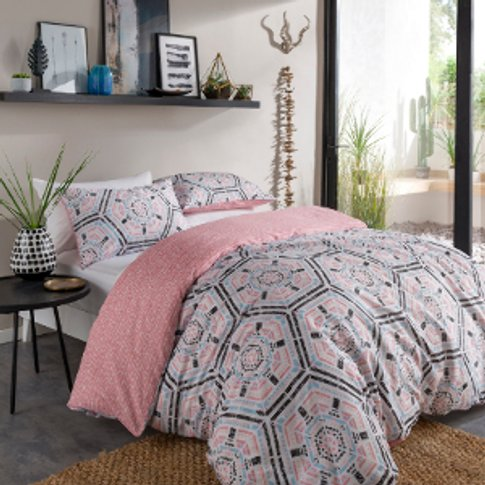 Aztec Geo Blush Printed Duvet Cover And Pillowcase Set - King