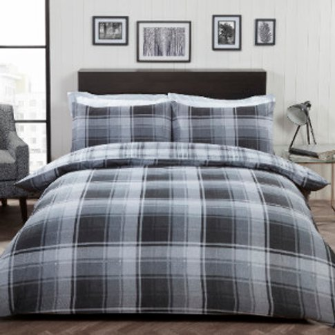 Mckinley Check Duvet Cover And Pillowcase Set - Grey...