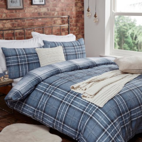 Mckinley Flannelette Check Denim Duvet Cover And Pil...