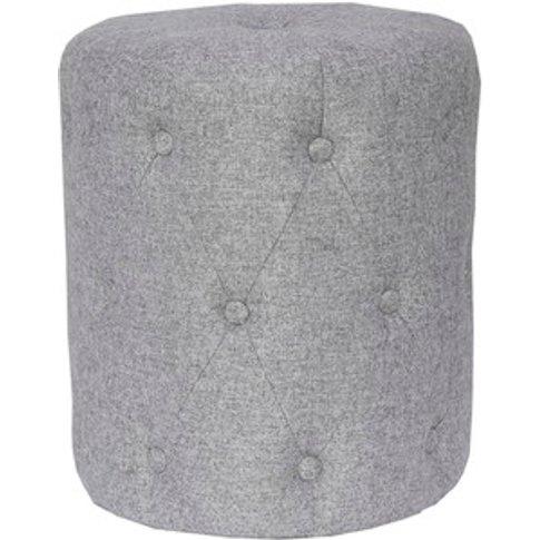Upholstered Cushioned Stool - Light Grey