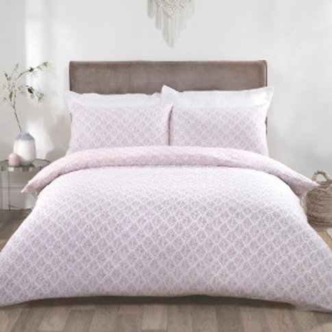Linden Duvet Cover And Pillowcase Set - Blush / King