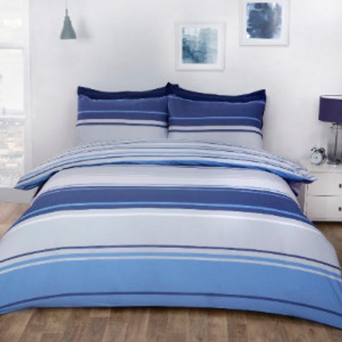 Richmond Stripe Duvet Cover And Pillowcase Set - Blue / Double