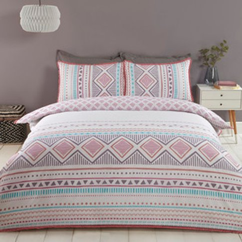 Navajo Tribal Duvet And Pillow Case Set - Blush & Na...