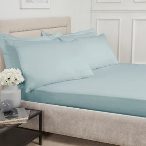 180 Thread Count Cotton Fitted Sheet - Duck Egg / Su...