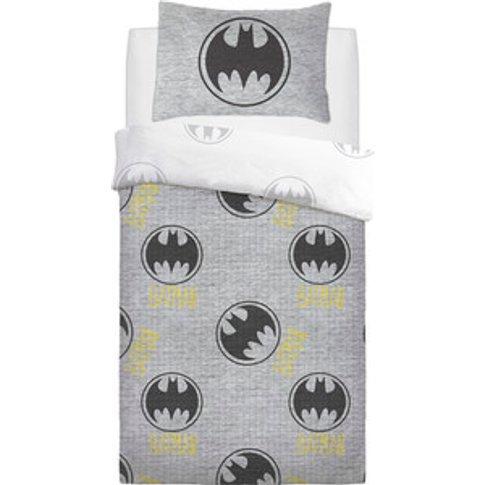 Batman Grey Logo Duvet Cover And Pillowcase Set - Grey