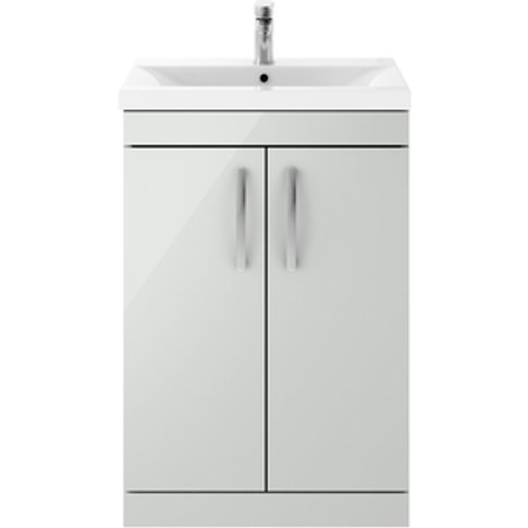Jonas & James Cristo Floor Standing Cabinet Basin - Gloss Grey Mist / 1 / 600mm