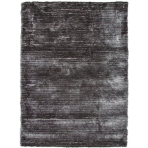 3d Stripe Shaggy Rug - Grey