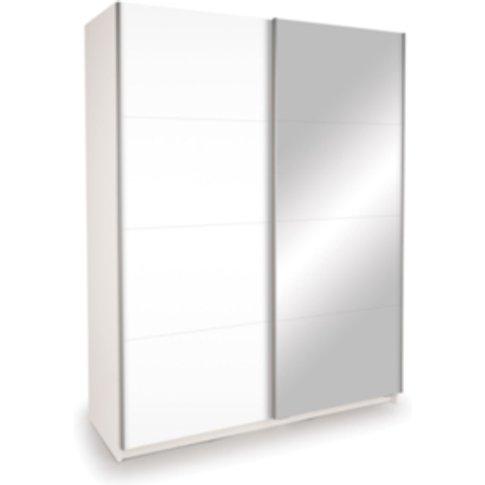 Dallas Mirror Sliding Wardrobe - White / Single Mirror