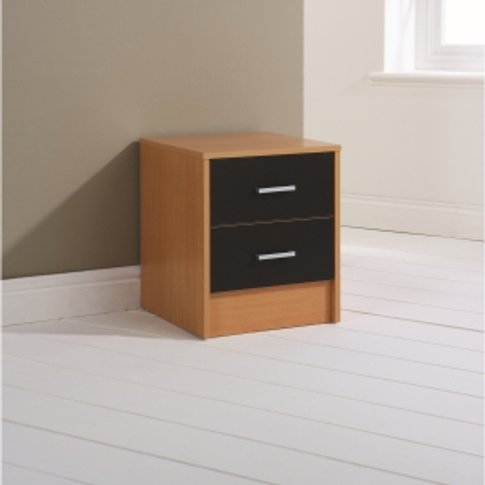 Oslo Two Drawer Bedside Cabinet - Black Gloss