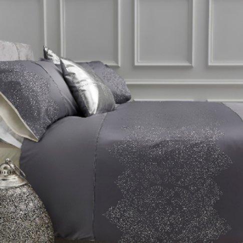 Damask Metallic Spot Silver Duvet Cover And Pillowca...
