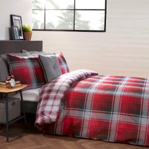 Mckinley Check Duvet Cover And Pillowcase Set - Red ...