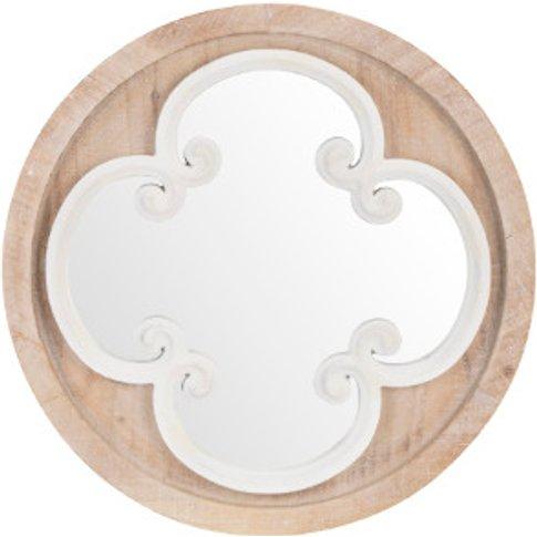 Round Quatrefoil Wooden Mirror