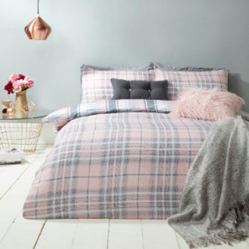 Kirk Check Duvet Cover And Pillowcase Set - Pink / K...