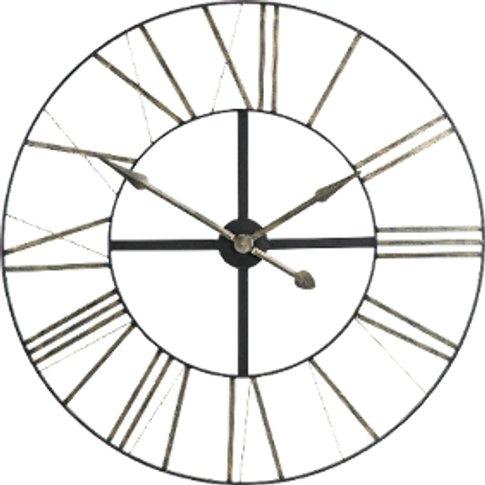 Black Iron Clock With Silver Numerals - Black