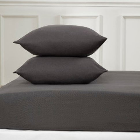 Flannelette Fitted Sheet  - Charcoal / Single