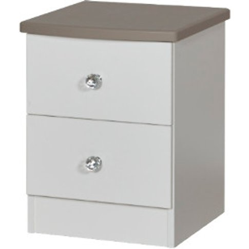 Nancy Two Drawer Bedside Table - White