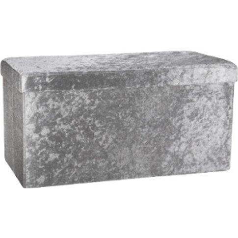 Seville Crushed Velvet Storage Trunk - Silver