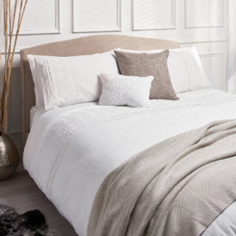 Catherine Leaf Embroidered White Duvet Cover and Pil...