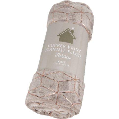 Copper Print Flannel Fleece Throw - Grey