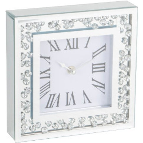 Floating Crystal Clock - Silver