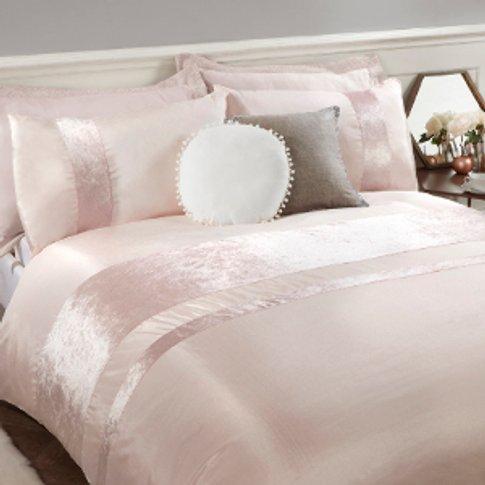 Velvet Stripe Duvet Cover And Pillowcase Set - Blush...