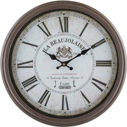 La Beaujolaise Rustic Wall Clock - Brown