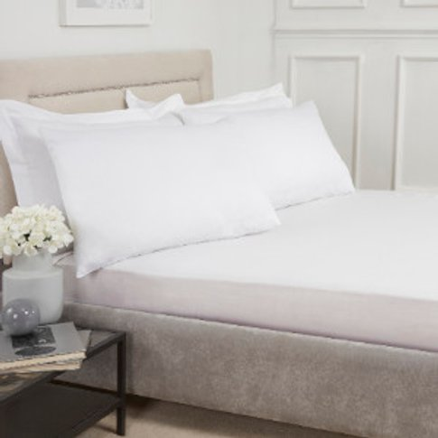 180 Thread Count Cotton Fitted Sheet - White / Double