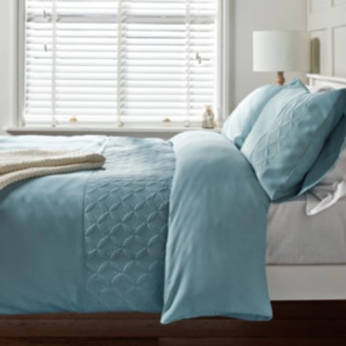 Emma Quilted Duvet Cover and Pillowcase Set - Duck e...