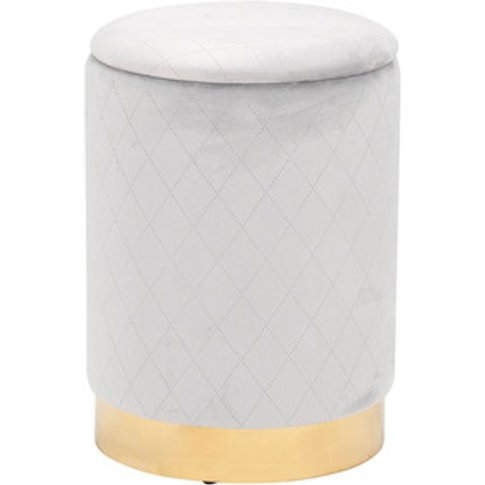 Grey Quilted Storage Stool