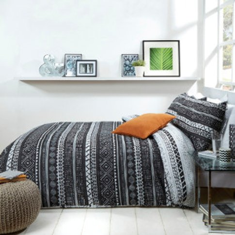 African Stripe Black And White Duvet Cover And Pillo...